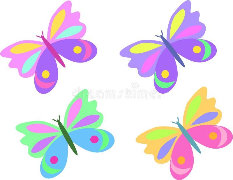 Mistura de quatro borboletas ilustração stock