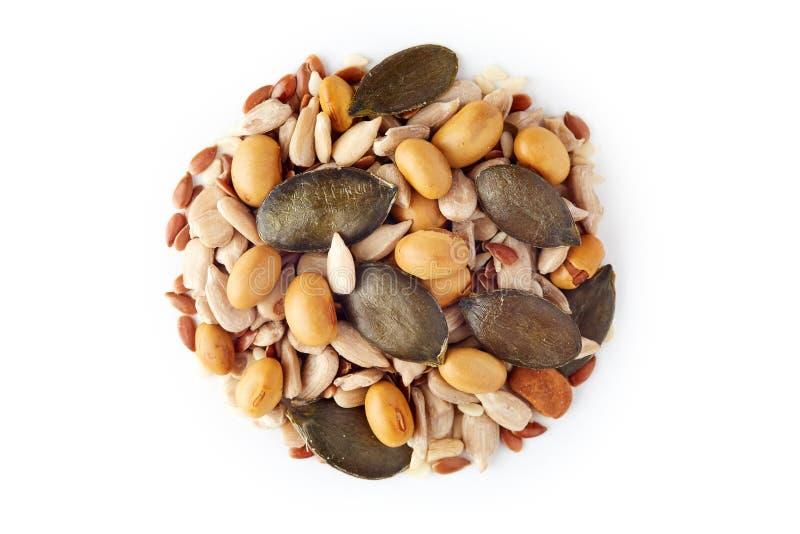 Mistura de várias sementes saudáveis fotografia de stock royalty free