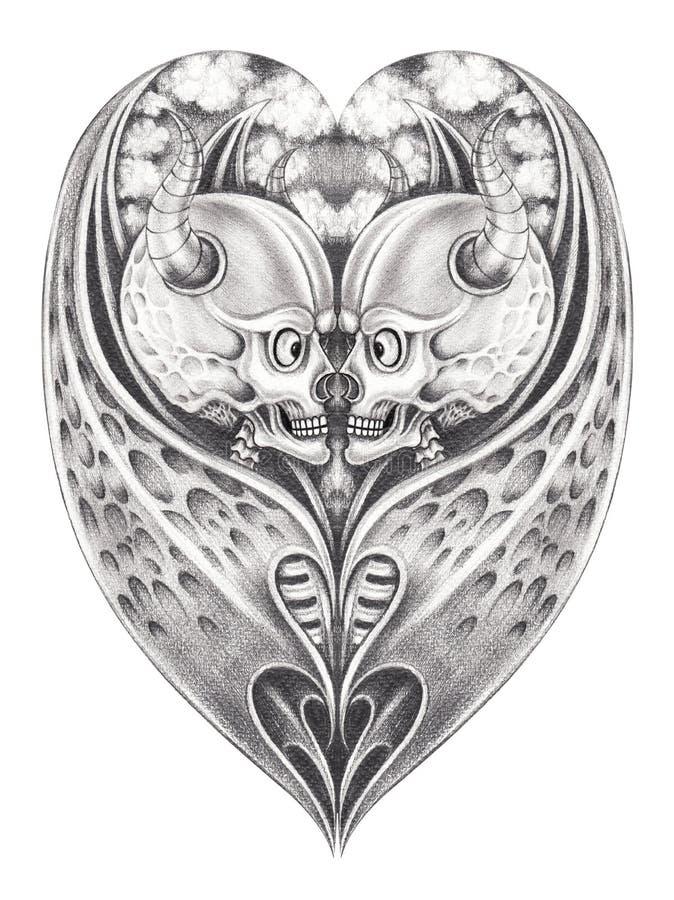 A mistura do coração de Art Surreal voa o crânio do diabo ilustração stock