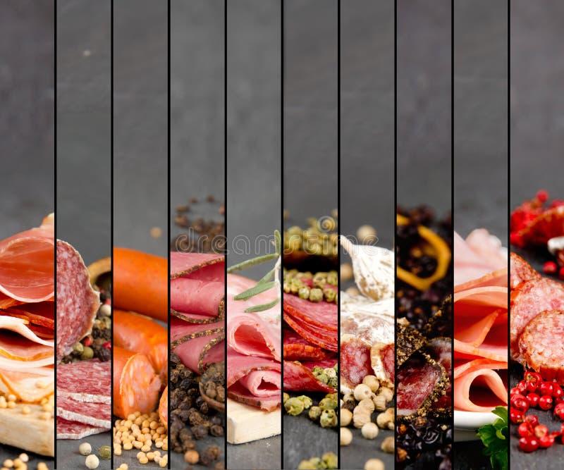 Mistura do presunto e do salame foto de stock