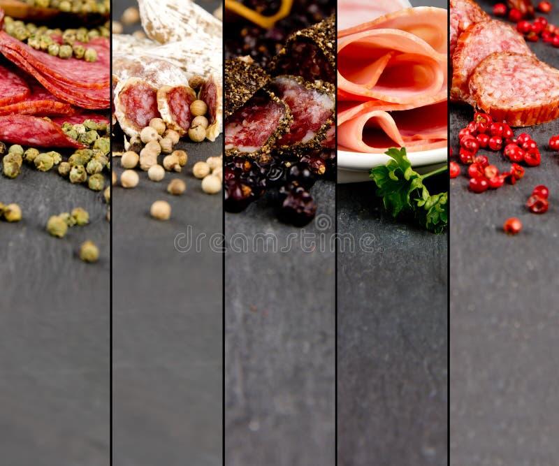 Mistura do presunto e do salame fotografia de stock