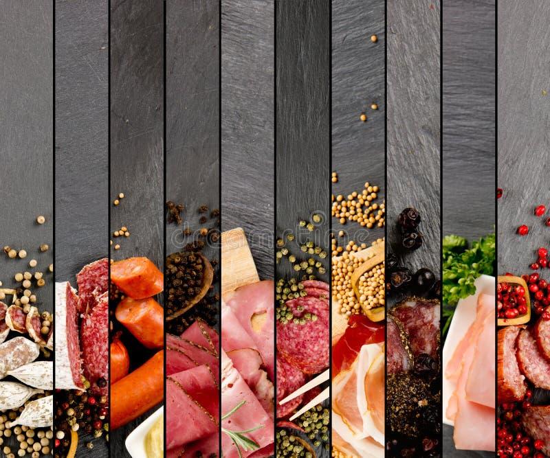 Mistura do presunto e do salame imagem de stock royalty free
