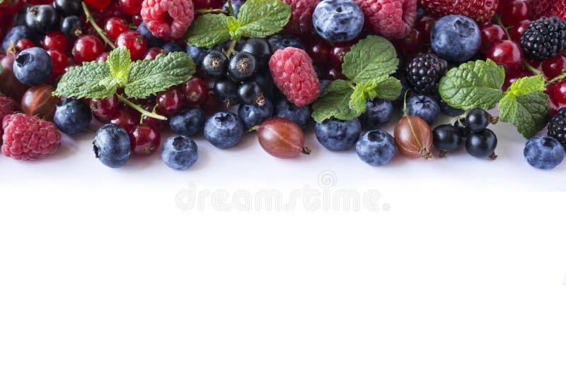 A mistura frutifica as bagas isoladas no fundo branco Corintos maduros, framboesas, mirtilos, gooseberrie, amoras-pretas com uma  foto de stock royalty free