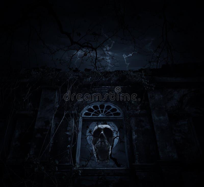 Mistura humana do crânio com a árvore inoperante sobre o castelo antigo velho da janela, imagens de stock