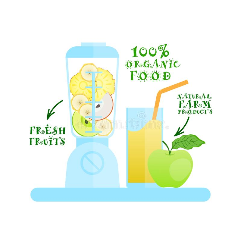 Misturador com conceito de produtos orgânico de Juice Cocktail Logo Natural Food dos frutos frescos ilustração do vetor