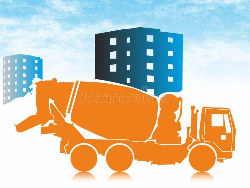 Misturador concreto móvel, caminhão de mistura concreto do transporte ilustração stock