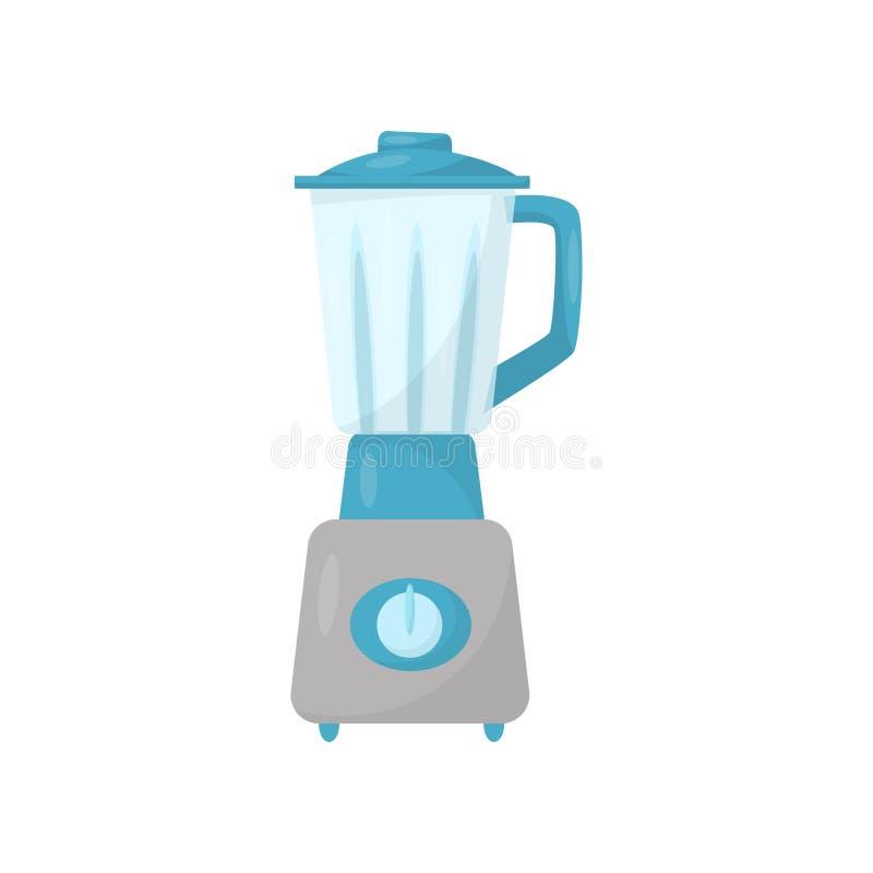 Misturador da cozinha com jarro de vidro Máquina de mistura elétrica Aparelho eletrodoméstico Vetor liso para anunciar o cartaz o ilustração royalty free