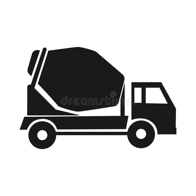 Misturador preto do ícone em máquinas do stroitelsvo entrega do cimento caminhões industriais ilustração do vetor