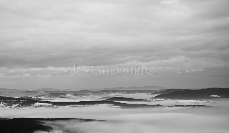 Foggy black and white mountains and a beautiful forest royalty free stock image
