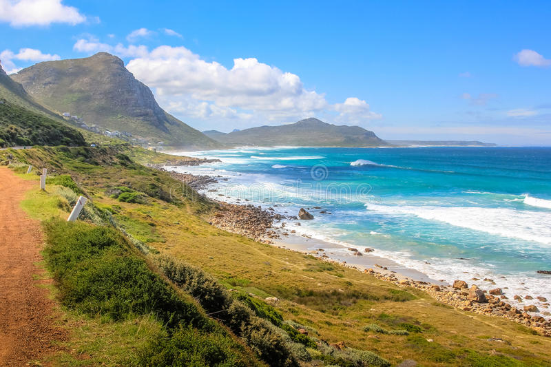 Misty Cliffs in South Africa. Cape Peninsula scenic drive, South Africa. Misty Cliffs a little village between Kommetjie and Scarborough, famous for the fog in a stock photos