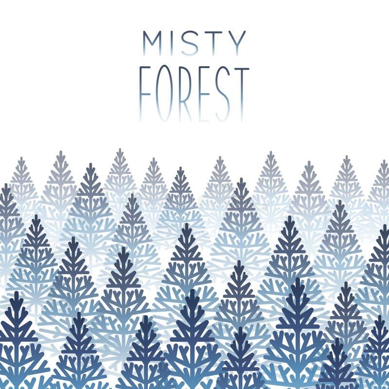 Misty coniferous, fronteira da floresta em fundo branco ilustração royalty free