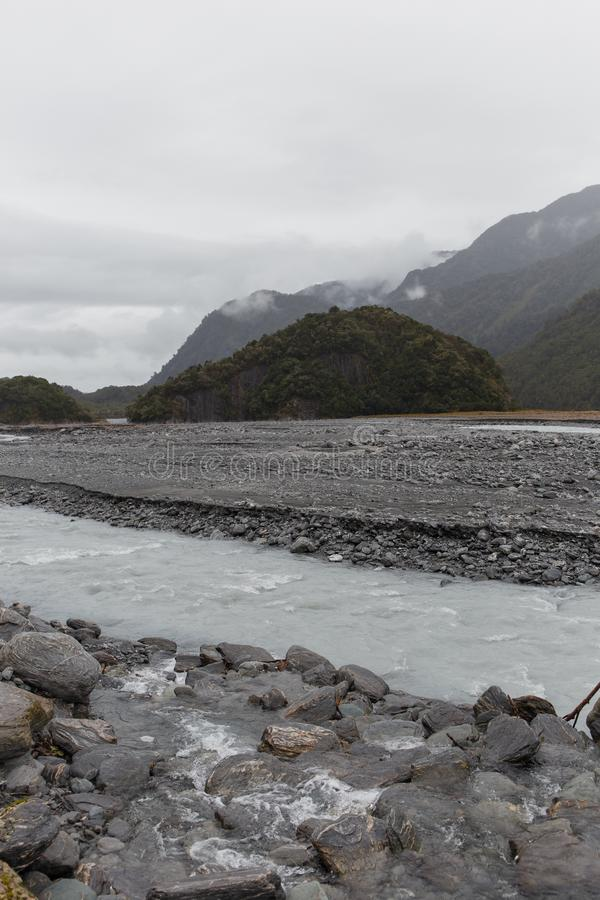 Misty day in the mountains near Franz Josef Glacier royalty free stock photography