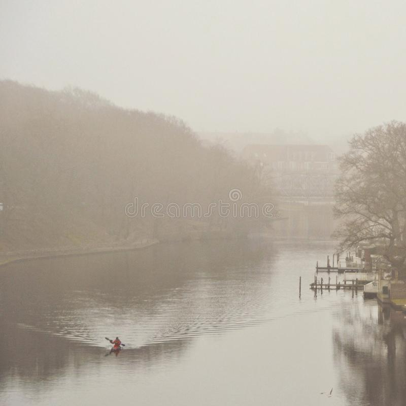 Misty day by the river royalty free stock image