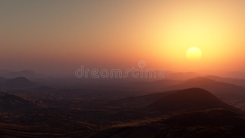 Misty Desert Sunset ilustração stock