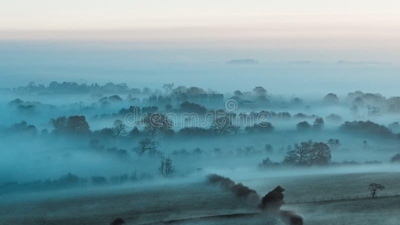 Misty Farm Fields, Wharfedale, North Yorkshire stock photography