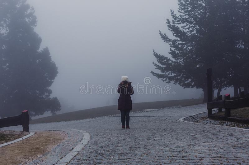 Misty fog landscape in a mountain. young woman taking pictures. winter or autumn concept. Fantasy, morning, season, cloud, tourism, natural, forest, travel stock photo