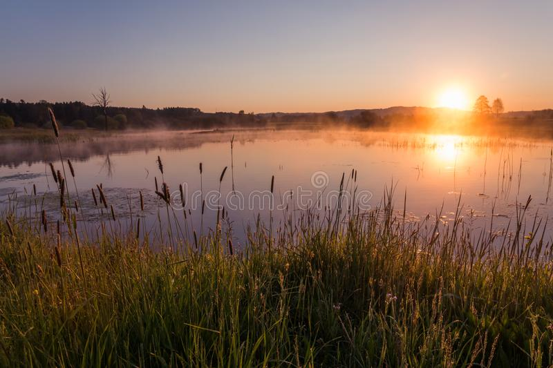 Misty Golden Sunrise Reflecting au-dessus de lac au printemps photographie stock