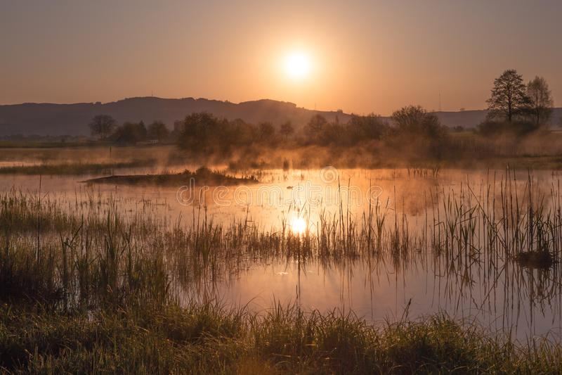 Misty Golden Sunrise Reflecting au-dessus de lac au printemps images stock