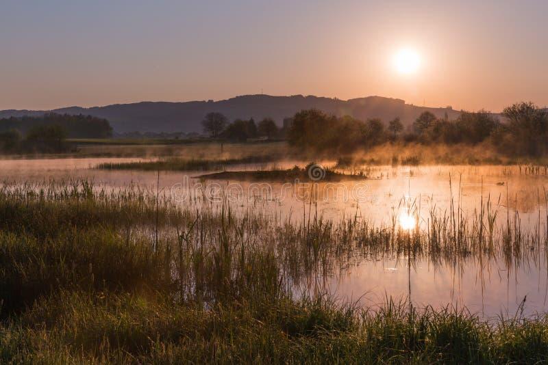 Misty Golden Sunrise Reflecting au-dessus de lac au printemps images libres de droits