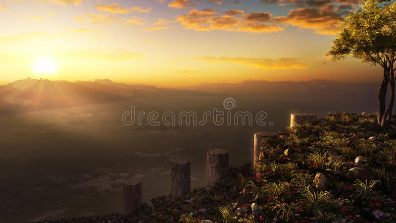 Misty Hill Ocean View. Sunset scenery above the ocean and islands on top of the imaginative place The Misty Hill. High quality and highly detailed digital 3D stock illustration