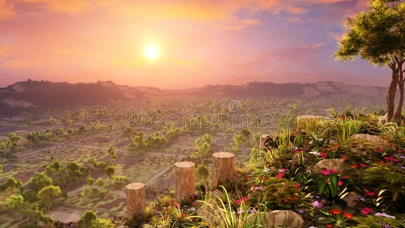 Misty Hill Sunset Village. Sunset scenery above a village and mountains on top of the imaginative place The Misty Hill. High quality and highly detailed digital vector illustration