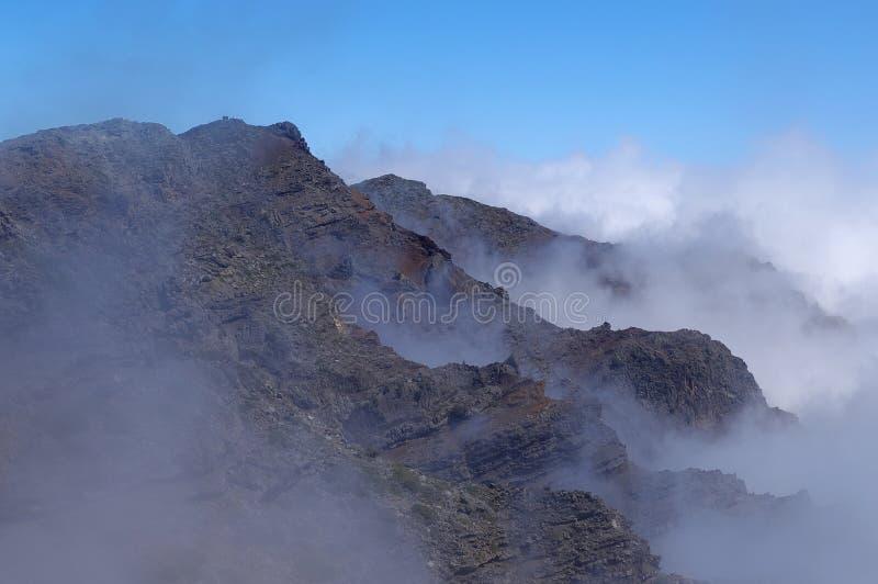 Misty hillside of La Caldera de Taburiente royalty free stock photos