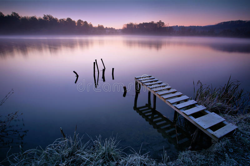 Download Misty lake stock photo. Image of early, tender, cold - 26877778