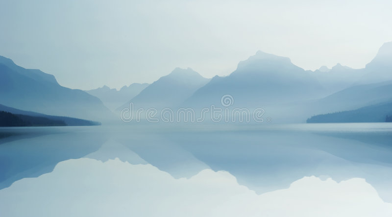 Misty Lake B 8-07 Royalty Free Stock Image