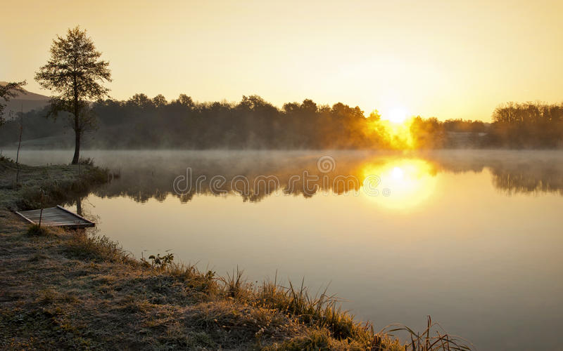 Misty lake in early  morning