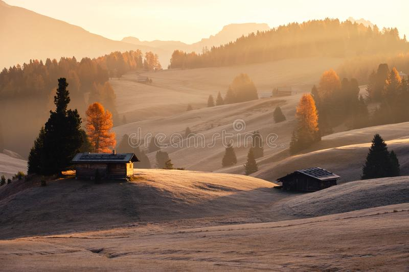 Misty landscape view in Alpe di Siusi stock images