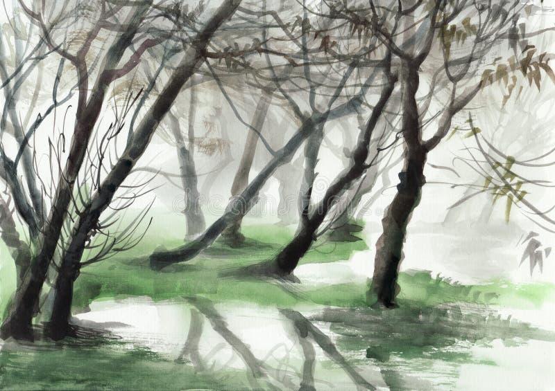misty lasu royalty ilustracja