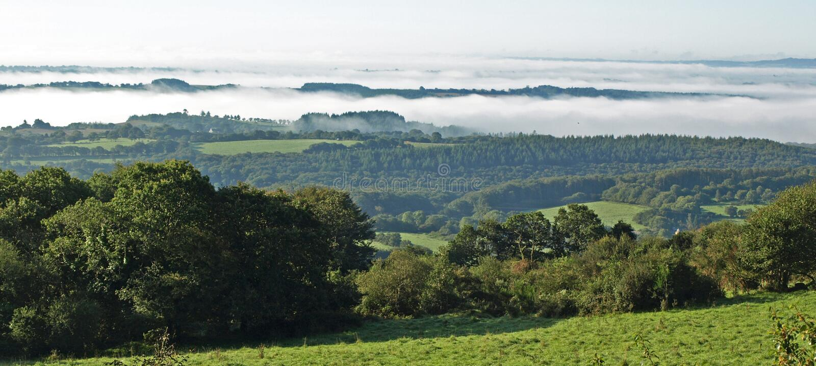 Misty Morning. Over the Monts D'Arree stock images