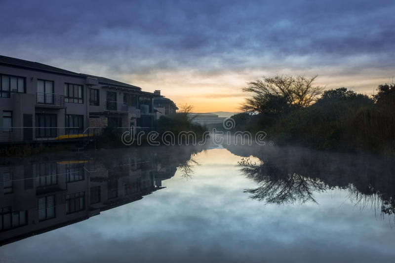 Misty Morning on the canal royalty free stock photos