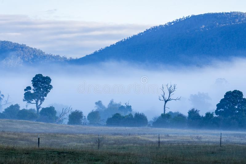 Misty morning covering mountains royalty free stock photos