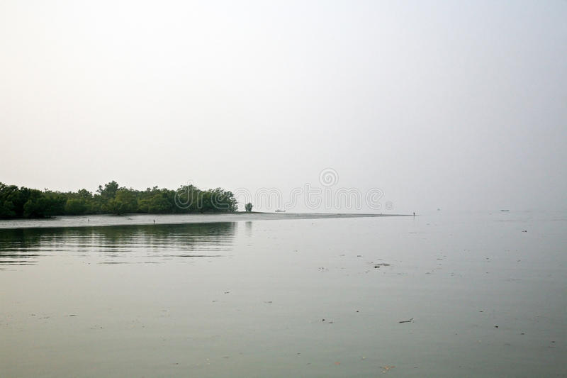 Misty morning on the holiest of rivers in India. Ganges delta in Sundarbans, India. Misty morning on the holiest of rivers in India. Ganges delta in Sundarbans royalty free stock images