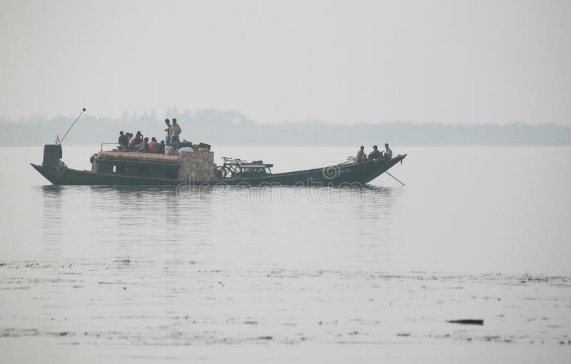 Misty morning on the holiest of rivers in India. Ganges delta in Sundarbans, India. Misty morning on the holiest of rivers in India. Ganges delta in Sundarbans stock images
