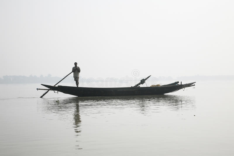 Misty morning on the holiest of rivers in India. Ganges delta in Sundarbans, India. Misty morning on the holiest of rivers in India. Ganges delta in Sundarbans stock image