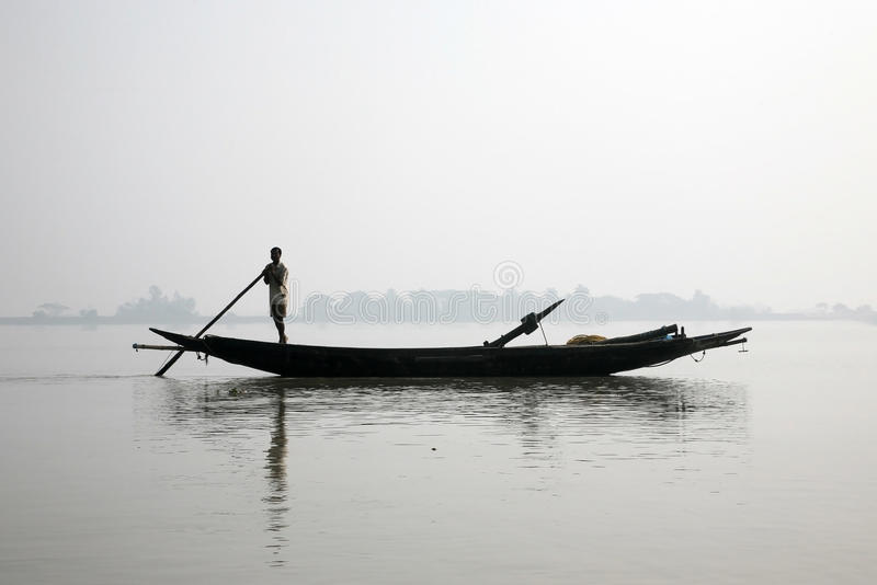 Misty morning on the holiest of rivers in India. Ganges delta in Sundarbans, India. Misty morning on the holiest of rivers in India. Ganges delta in Sundarbans royalty free stock photos