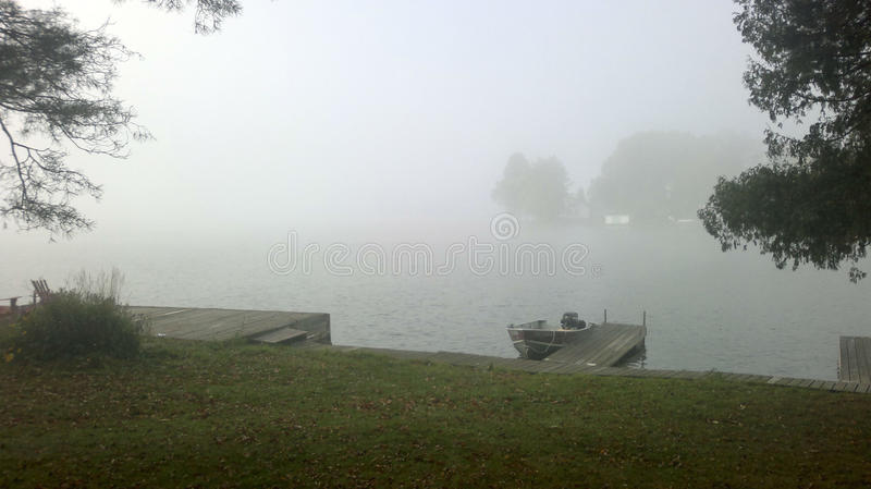 Misty morning on the lake royalty free stock photo