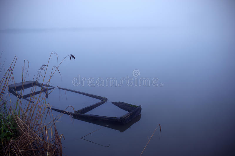 Misty morning by the lake stock photos