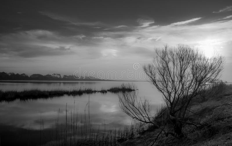 Misty Morning On The Marsh. As a rising sun warms the cool waters of the salt marsh on Chincoteague Island a light veil of mist softens the scene stock image