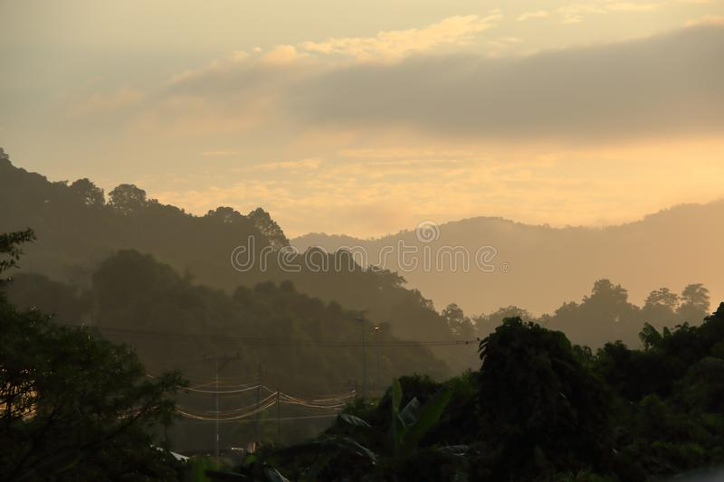 Misty morning over the mountains stock photos