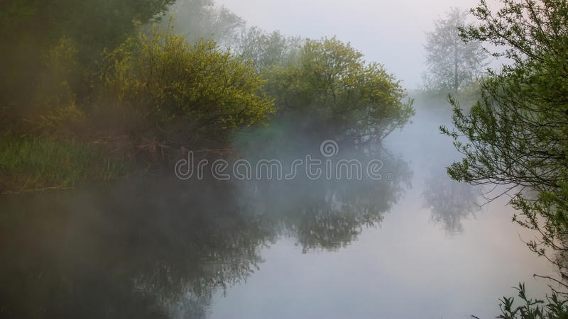 Misty morning over the river. Foggy landscape stock photos