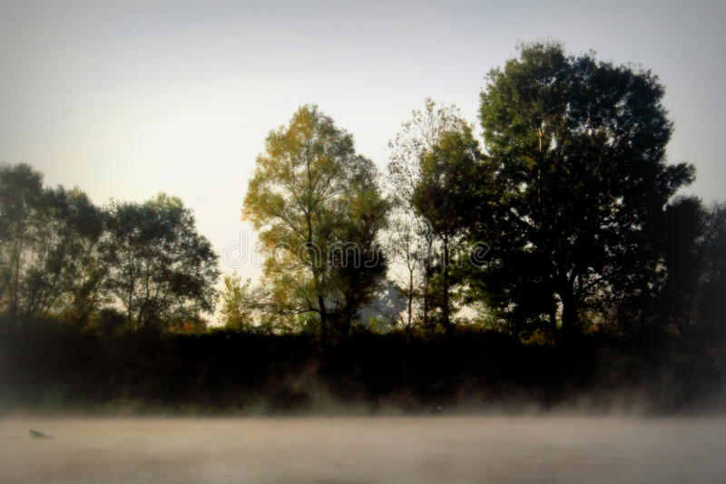 Misty morning on the river. Autumn morning myst on the river stock photography