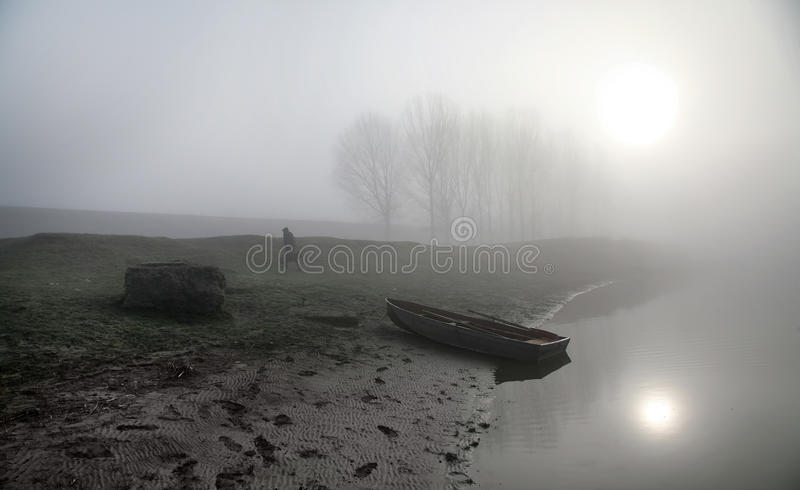 Misty Morning on the river Dniester. stock photography
