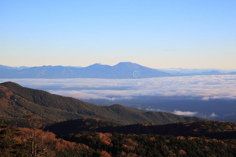 Misty Mountain at morning. Mt. Asama, Nagano, Japan royalty free stock image