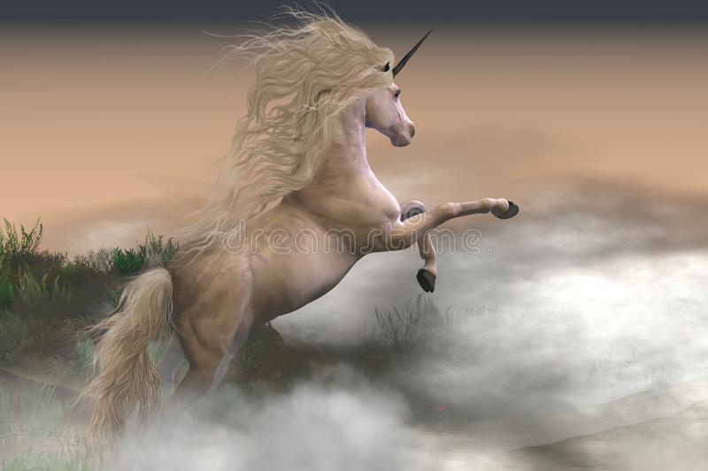 Misty Mountain Unicorn. Misty swirls of clouds surround a unicorn stag as he displays his strength and energy on a mountain slope royalty free illustration