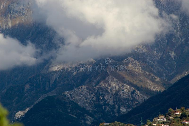 The misty mountains in the morning. stock photo