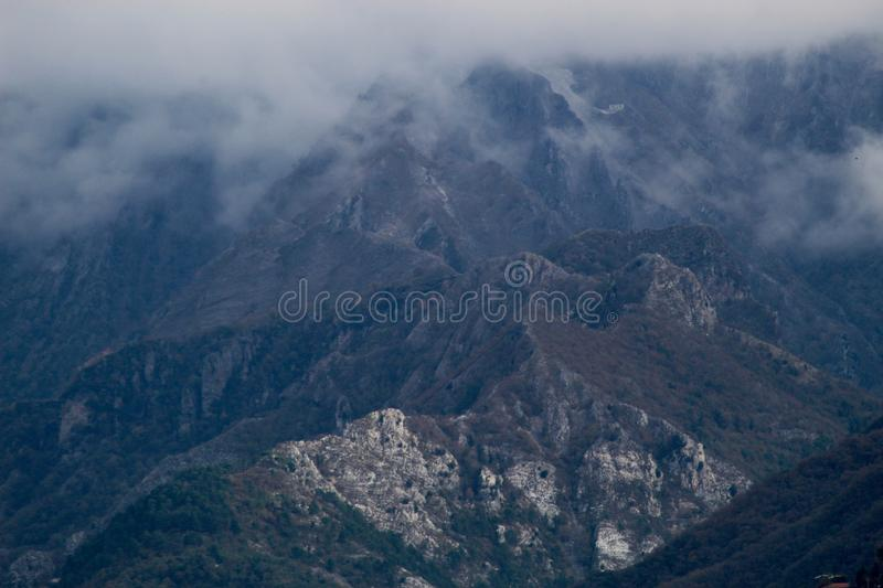 The misty mountains in the morning. Mountains of the day . Hills. sky. misty stock photo