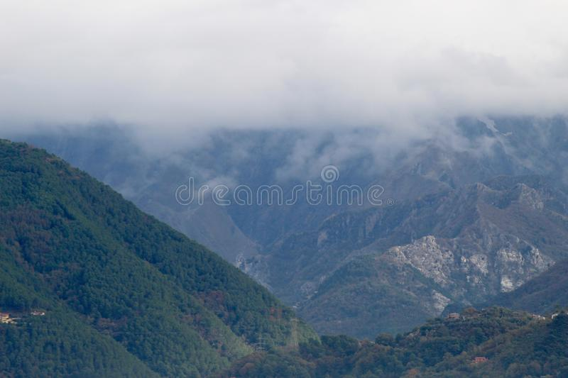 The misty mountains in the morning royalty free stock images
